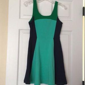 Women's Express Dress Colorblock Green Navy skater